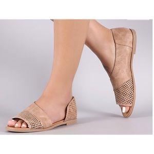 Shoes - New Arrival - Vegan Suede Side Cutout Flats